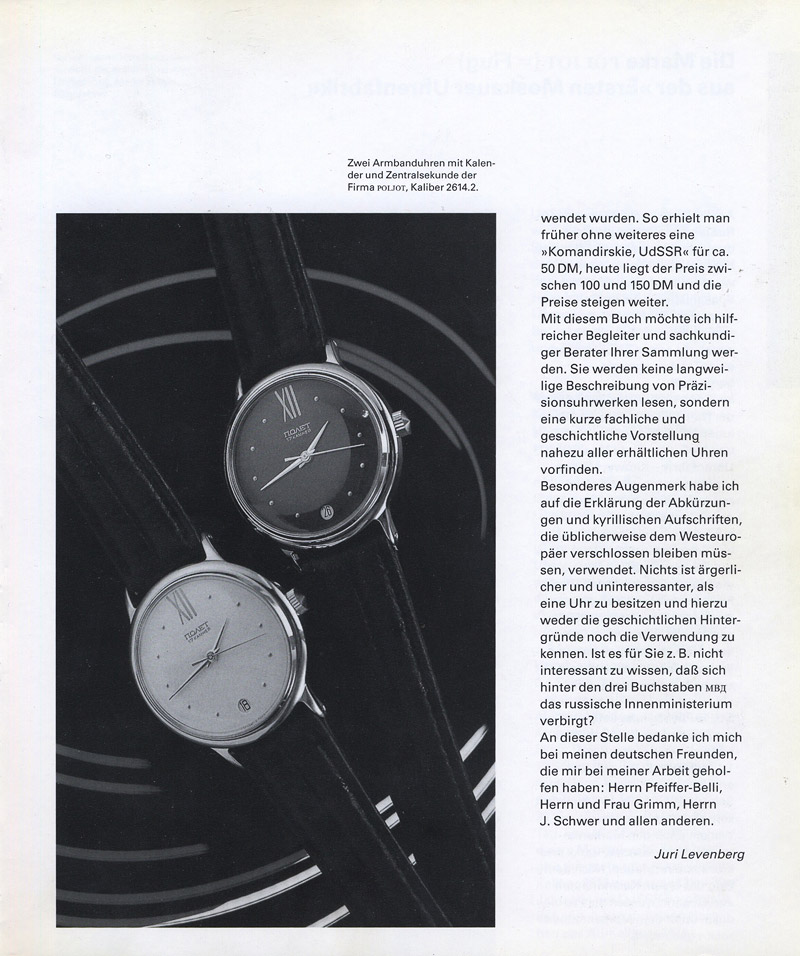Russische Armbanduhren Juri Levenberg Einleitung 02 Russische Armbanduhren (D)