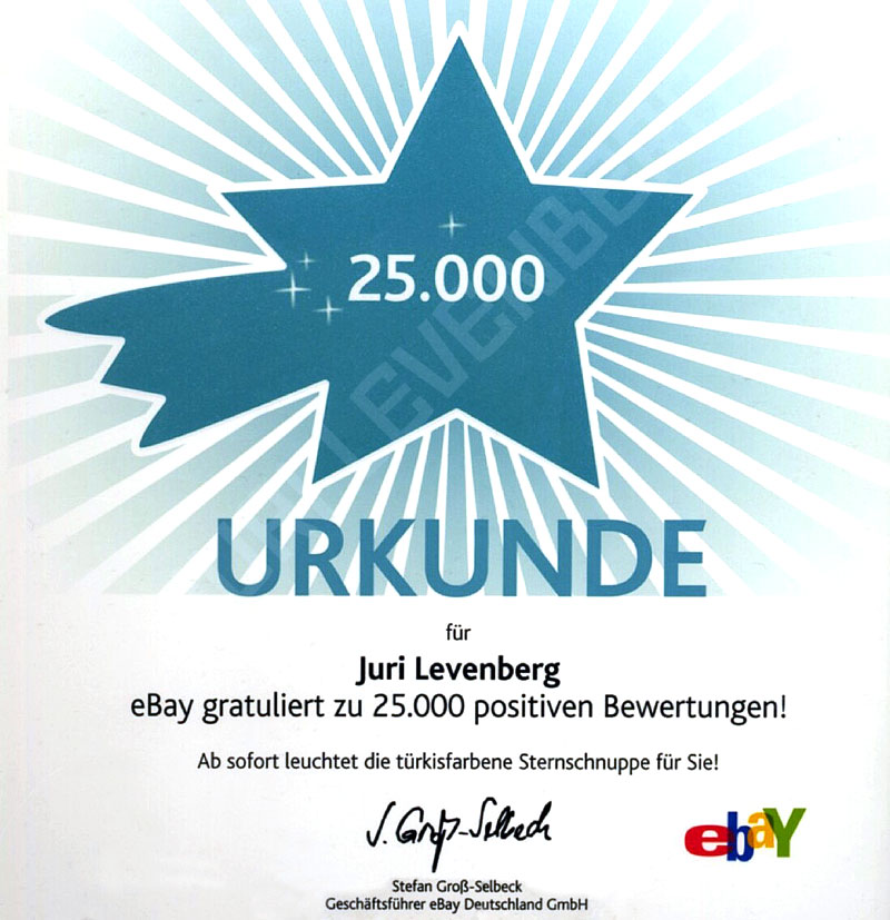 ebay urkunde 25K Juri Levenberg ebay 25.000 positive Bewertungen