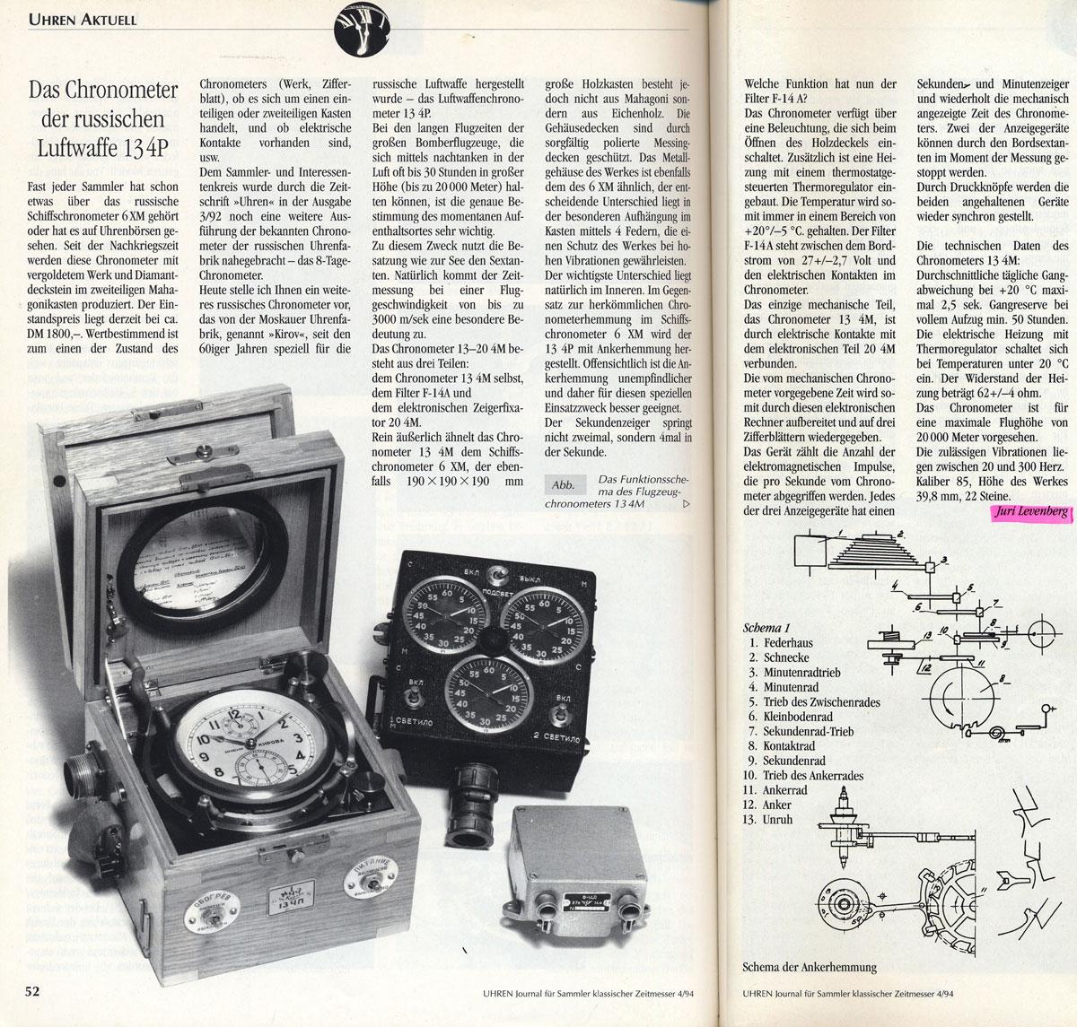 uhren 04 94 artikel juri levenberg chrono 134P UHREN Journal 4/94